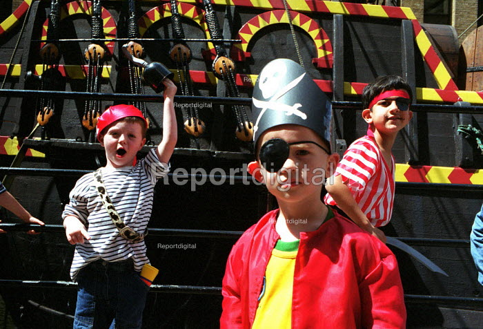 Children dressed up as pirates visiting the replica of the Golden Hind London - Duncan Phillips - 2002-10-16