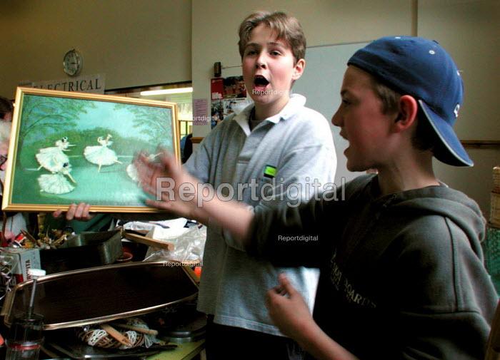 Pupils helping at a secondary school jumble sale, Sheffield - David Bocking - 2001-03-31