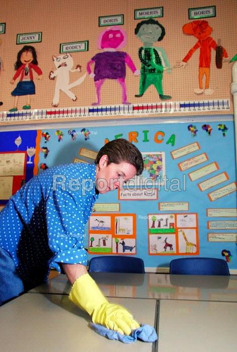 School cleaner at work in a Sheffield primary school - David Bocking - 2001-11-29
