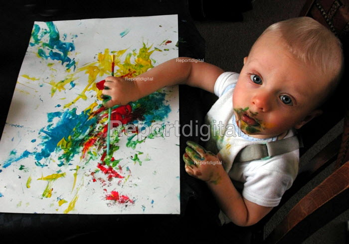 One year old after an art lesson with his childminder - David Bocking - 2002-01-15