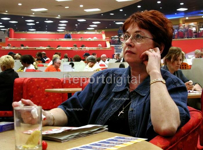 Woman playing in a Bingo club, Sheffield - David Bocking - 2002-04-20