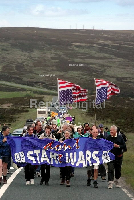 Bruce Kent, CND Chair Carol Naughton and other CND members leading the anti Star Wars demonstration towards Fylingdales RAF base on 15th June 2002 - David Bocking - 2002-06-15