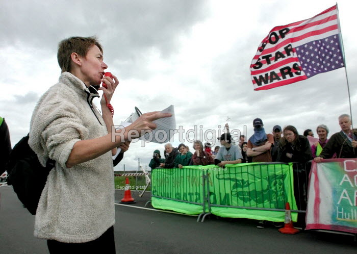 CND Chair Carol Naughton reading the CND statement on National Missile Defence at the CND anti Star Wars demonstration at Fylingdales RAF base on 15th June 2002 - David Bocking - 2002-06-15