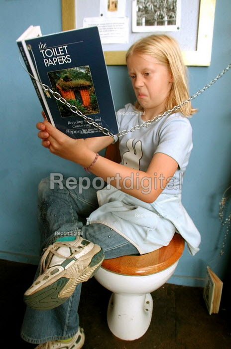 Girl taking in the educational information on a special seat at the natural non-chemical sewage treatment plant at the Earth Centre, Doncaster - David Bocking - 2002-08-29