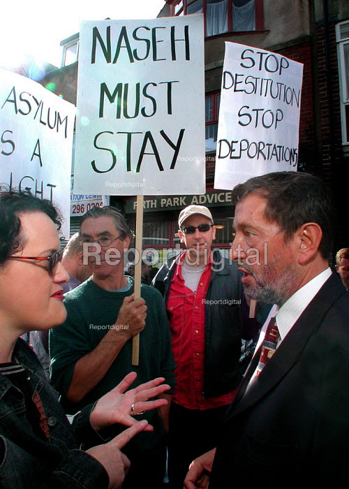 Sheffield Committee to Defend Asylum Seekers lobby of MP David Blunkett's surgery in Sheffield. Iraqi Naseh Ghafor from the city, who has been refused asylum in the UK and has recently ended his 44 day hunger-strike, was not well enough to attend the lobby. - David Bocking - 2004-09-11
