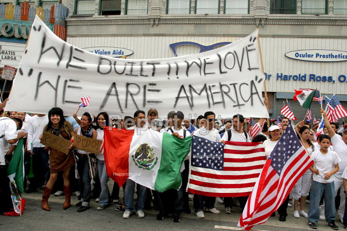 May Day protest by immigrants and their supporters which filled the streets of Los Angeles twice in one day Marchers of all races and nationalities protested the bills in Congress that would criminalise 12 million undocumented people, build a wall between the US and Mexico, set up guest worker programs, allow indefinite detention and drive from their jobs those without papers. - David Bacon - 2006-05-01