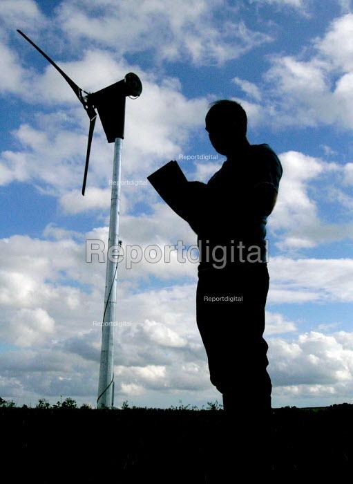 Sheffield farmer monitors the wind turbine used to power his farm - David Bocking - 2006-10-02