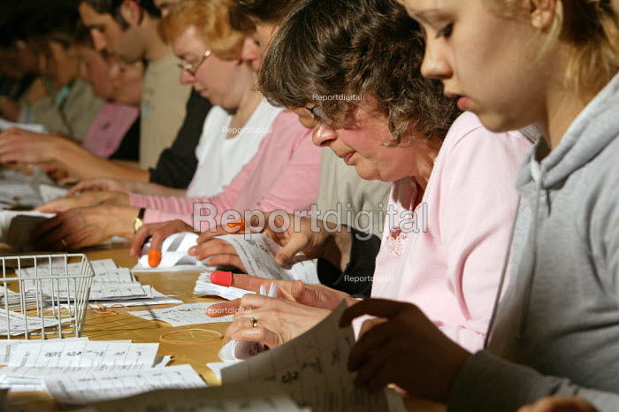 Counters, also known as tellers, counting parliamentary election voting papers, Dorset West Constituency in the early hours of Friday morning, 2005 General Election - David Mansell - 2005-05-06