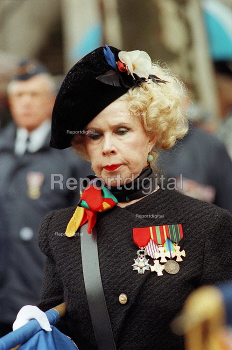 Jewish ex-servicemen and women's Remembrance Service in Whitehall.  A French ex-service woman wearing her medals with pride. - David Mansell - 1996-11-17