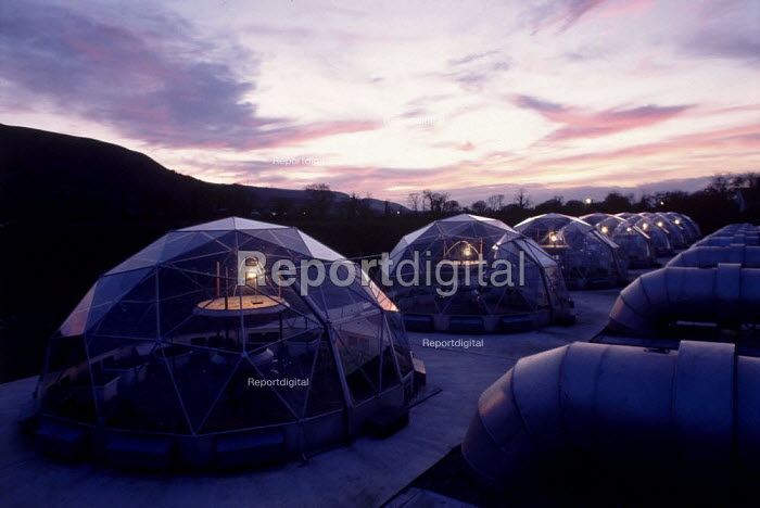 Bangor University of Wales. Experimental glass research domes used to carried out controlled light and air experiments to monitor global warming. - David Mansell - 2004-06-22