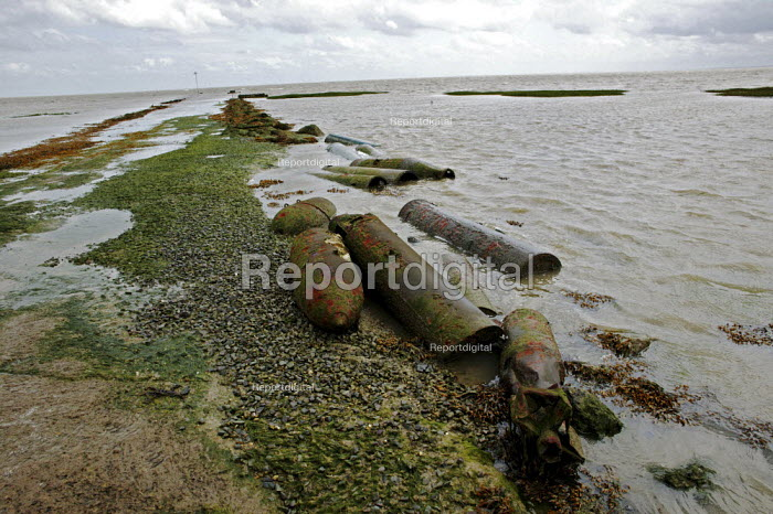 Rusted torpedoes and bombs, MOD weapons testing site, Foulness Island, Shoeburyness, Essex - David Mansell - 2007-07-01