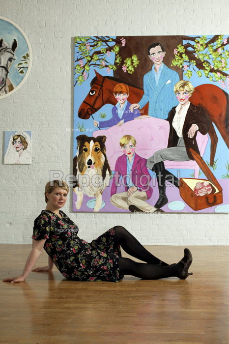 Stella Vine with her painting of Princess Diana with Prince Charles and young Princes William and Harry, within her exhibition at the Modern Art Oxford.  The Artist Stella Vine's - David Mansell - 2007-07-12