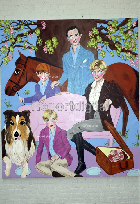 A painting of Princess Diana with Prince Charles and young Princes William and Harry, within Stella Vine's exhibition at the Modern Art Oxford.