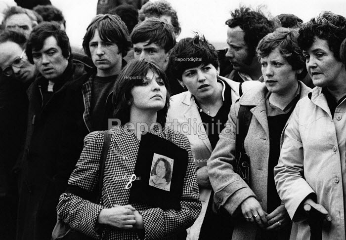 Funeral of the IRA prisoner Bobby Sands, 1981, over a 100,000 people lined the funeral route. Sands, started his hunger strike on 1st March and died 66 days later on the 5 May 1981. There were a total of ten hunger strikers who died in 1981, as it was a showdown between republican prisoners who wanted political status as prisoners and the refusal by the British. Their deaths resulted in serious rioting in the nationalist areas of Northern Ireland in particular the Bogside in Derry and West Belfast. - David Mansell - 1981-05-09