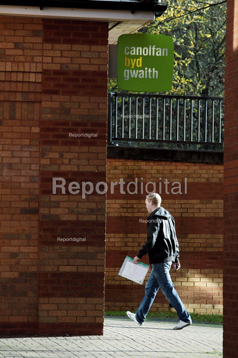 Unemployed people entering the JobCentre. Merthyr Tydfil is one of the unhealthiest places in Britain due to the affects of long term unemployment. - David Mansell - 2010-11-08