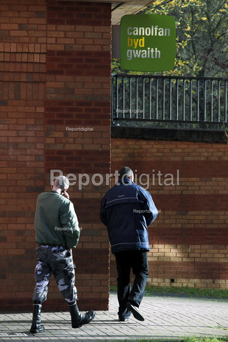 Unemployed people entering the JobCentre. Merthyr Tydfil is one of the unhealthiest places in Britain due to the affects of long term unemployment. - David Mansell - 2010-11-09