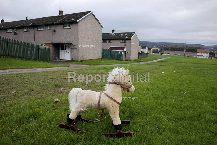 A child's rocking horse on the 1950s Gurnos council housing estate, based on the Radburn system. Merthyr Tydfil It is one of the unhealthiest places in Britain due to the high levels of long term unemployment. It has the highest number of people claiming sickness benefit in Britain. - David Mansell - 2010-11-09