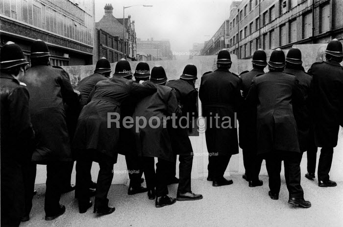 Police with riot shields. Riot as NF hold a youth rally, Digbeth, Birmingham - David Mansell - 1978-02-18