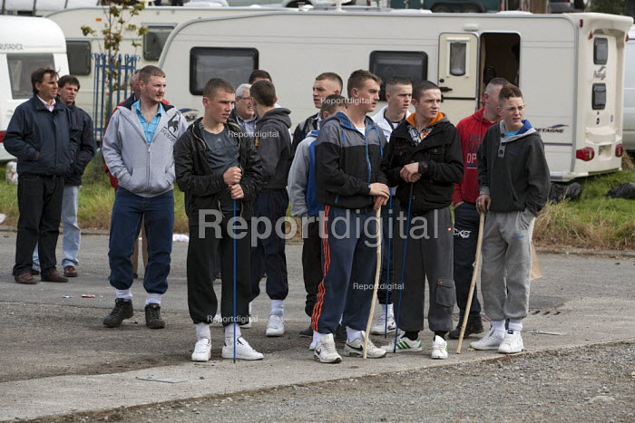 Country Fair Day, The Ballinasloe Horse Fair, County Galway, Ireland. Young men and teenagers have just arrived wearing their best trainers - David Mansell - 2012-09-29