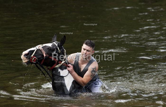 Appleby Horse Fair, Cumbria, washing horses in the River Eden - David Mansell - 2015-06-07
