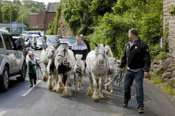 Appleby Horse Fair, Cumbria, after a day of horse dealing along the Sands, a family from Wales is leaving the Fair for the day, causing a temporary build up of traffic. - David Mansell - 2015-06-06
