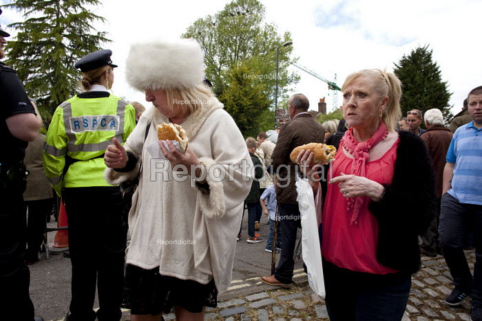 Wickham Horse Fair. Woman eating a hotdog and wearing a very large artificial white fur hat passes an RSPCA inspector. - David Mansell - 2015-05-20
