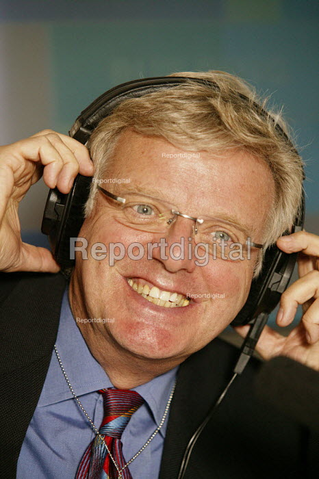 Michael Grade Chairman of the BBC. Seen doing a live outside radio broadcast programme whilst visiting the BBC Stand at the Conservative Party Conference Bournemouth 2004. - David Mansell - 2004-09-01