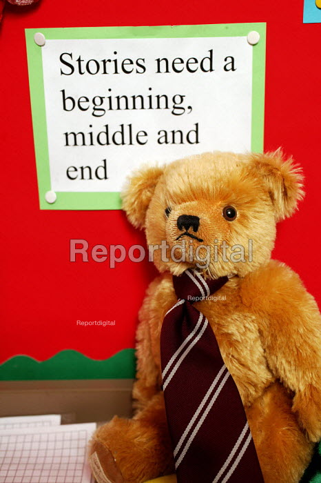 Wedmore First School, a 210 pupil village school in Wedmore, Somerset, run by Somerset LEA. Children use this teddy bear as part of their literacy hour. 