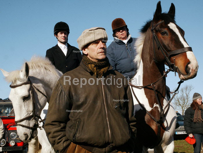 Jeremy Irons, the actor is a pro-hunting protester, and is seen at the gathering of the Bicester Hunt, Oxfordshire, who were protesting against the Labour Government's introduction to a ban on fox hunting, the new law now makes it illegal to hunt a fox by using a pack of hounds. - David Mansell - 2005-02-19