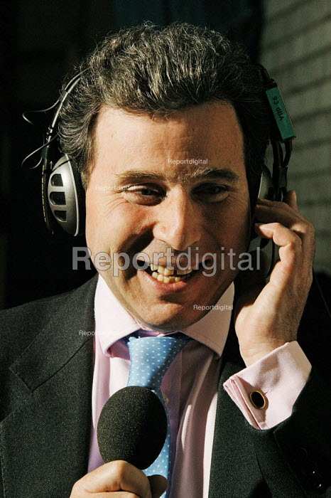 Oliver Letwin is seen doing a radio interview and very relieved at the announcement of his victory at the Dorset West Constituency in the early hours of Friday morning after the Thursday 5 May 2005 General Election. - David Mansell - 2005-05-06