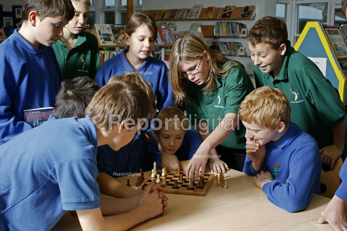 Bridgemary Community School, Gosport, Hampshire, where students are taught in classes of ability and not by their ages, so the subject classes are made up of pupils with different ages, who can be two years older or two years younger than themselves. This system of teaching in secondary education is not taught any where else in UK. The chess club in the library during break time. - David Mansell - 2005-11-28