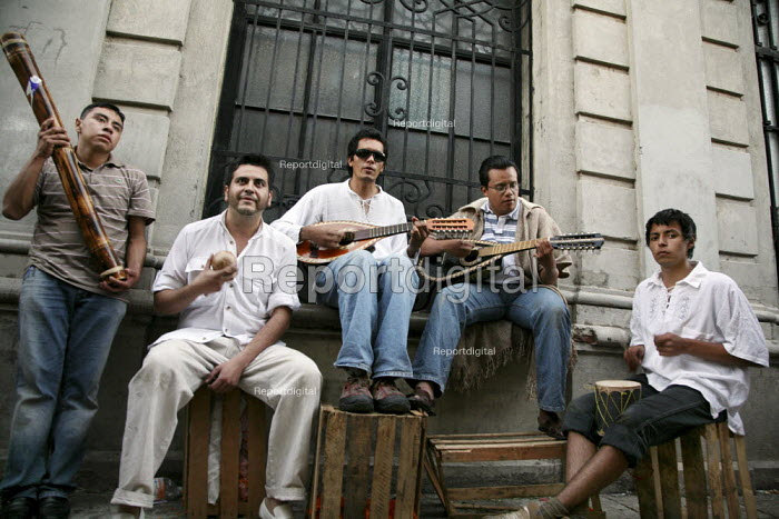 Musicians playing in the streets, on the Day of the Dead. - David Bacon - 2008-10-30