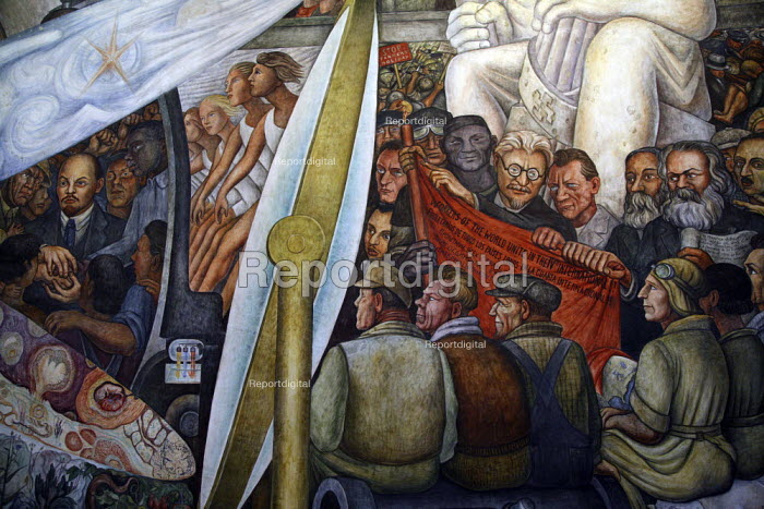 A section of the mural by Diego Rivera, in the Palace of Bellas Artes. - David Bacon - 2008-11-14