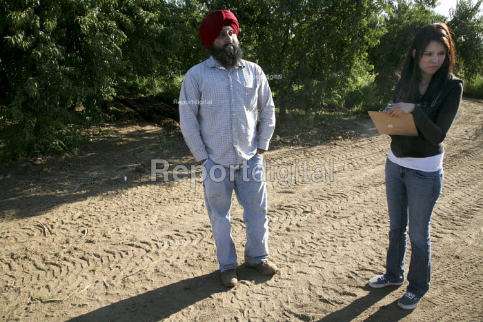 A community outreach worker for California Rural Legal Assistance (CRLA) interviews Sukhraj Pamma, son of a Punjabi peach grower, during a CRLA field inspection to ensure legal working conditions for farmworkers. Migrant workers from the Punjab region of India and Pakistan work picking and sorting peaches in Marysville, in Californias Sacramento River Valley. - David Bacon - 2009-08-03