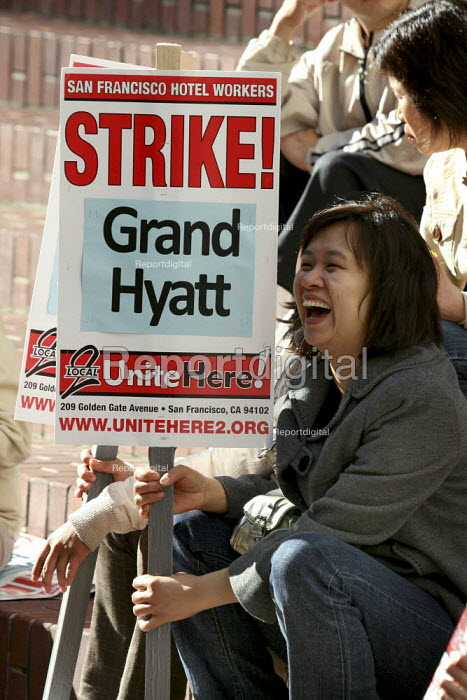 SAN FRANCISCO, Hotel workers launch strike against the Hyatt Grand hotel, one of San Franciscos largest and most luxurious. The contract with the workers union, UNITE HERE Local 2, expired in June. The luxury hotel chains demand that workers pay for their healthcare and are demanding an agreement with no increase in wages. - David Bacon - 2009-11-06