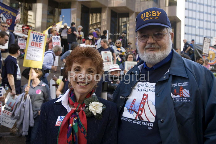 Antonia Cortese of the AFT and Dennis Kelly, pres of UESF. Union members march through downtown San Francisco to protest at attacks on public sector unions in Wisconsin and other states, and cuts in public services. This was one of hundreds of rallies in solidarity around the U.S. on the same day, We are One! - David Bacon - 2011-04-04