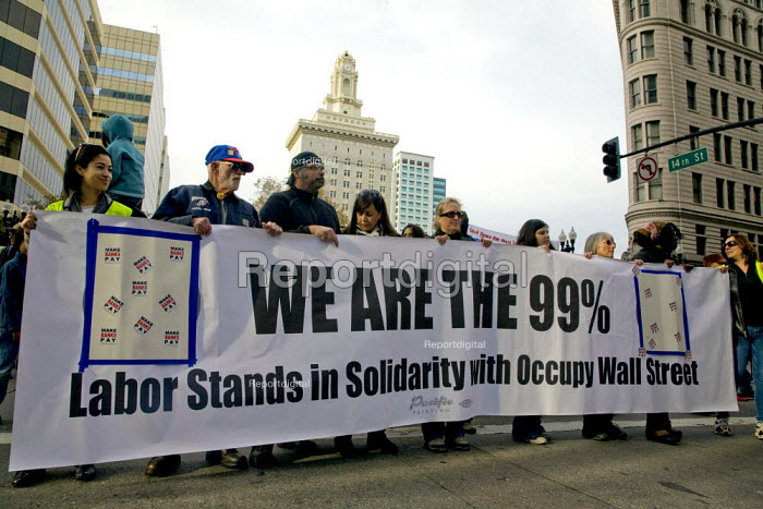 We are the 99%. Unions join Occupy Oakland movement protest. California, USA - David Bacon - 2011-11-19