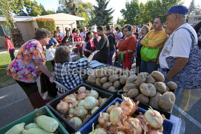 California. Hungry people queue for food at a distribution centre, Faith Lutheran Church in Castro Valley. - David Bacon - 2013-08-01