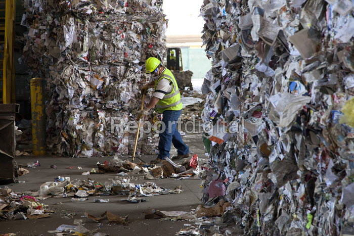 California- Worker at the recycling sorting facility of Alameda County Industries sweeping up paper from trash collected in local cities. - David Bacon - 2015-02-18