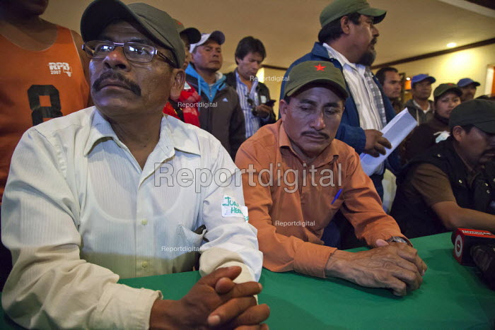 Mexico, Fermin Salazar, Juan Hernandez, Fidel Sanchez, leaders of The Alianza at a press conference to announce the results of the negotiation with the government to increase wages of farm workers. The workers are almost all indigenous Mixtec and Triqui migrants from Oaxaca, in southern Mexico. The leaders include Juan Hernandez, Fermin Salazar, Fidel Sanchez and Bonifacio Martinez. - David Bacon - 2015-06-04