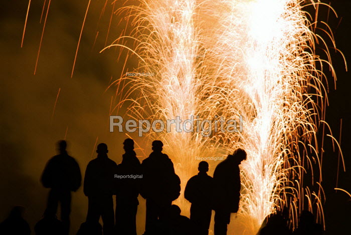 Crowd watching Public firework display, Guy Fawkes night - Duncan Phillips - 2001-11-05