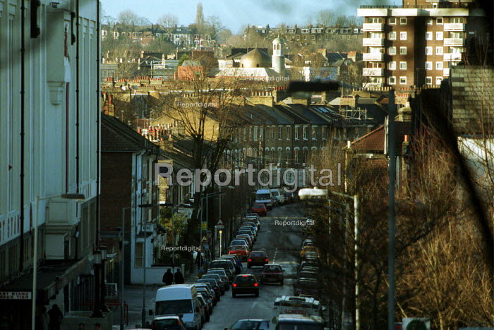 Street Scene Islington North London Showing a Mix of private and council Housing - Duncan Phillips - 2002-02-06