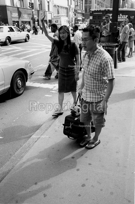 Woman hailing a cab whilst a man carries a dog in a holdall. New York City.USA. - Duncan Phillips - 2002-08-13