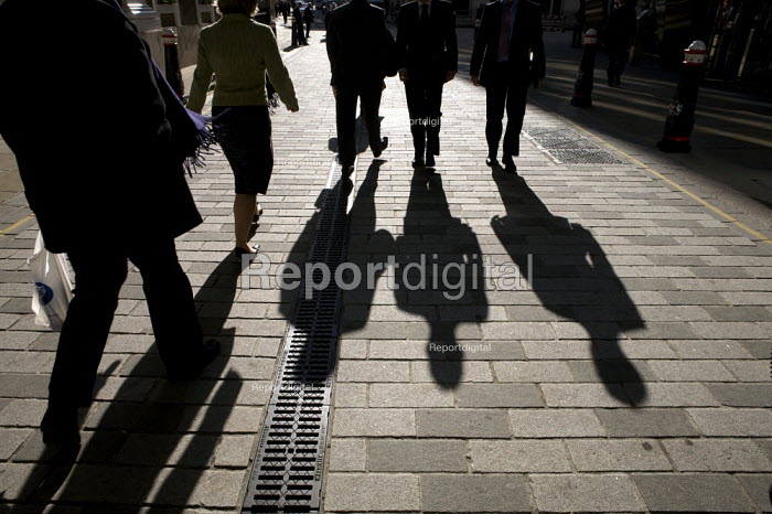 The shadows of City workers in the city of London financial district. - Duncan Phillips - 2008-10-22