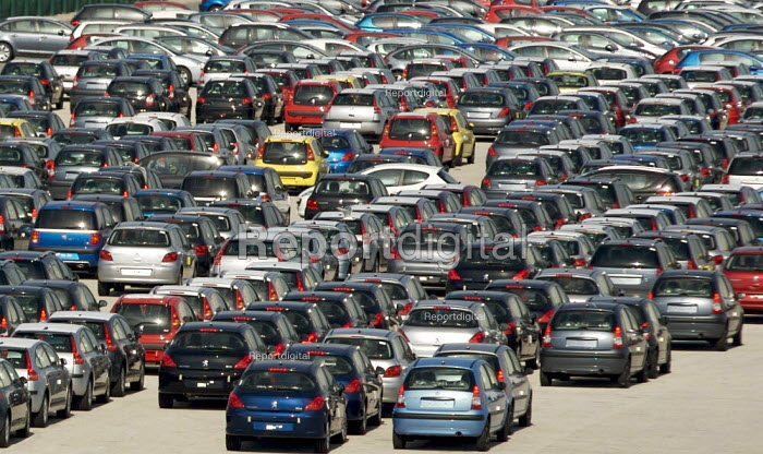 New French cars lined up ready for export, Calais, France. - Duncan Phillips - 2007-08-03