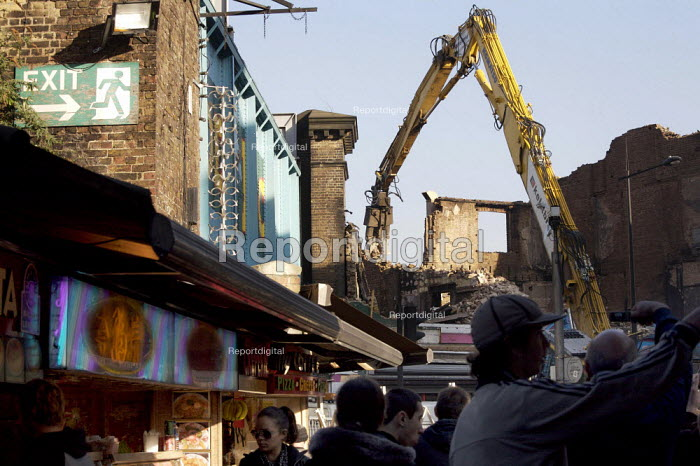 Demolition of buildings made unsafe due to fire, Camden Market London - Duncan Phillips - 2008-02-12
