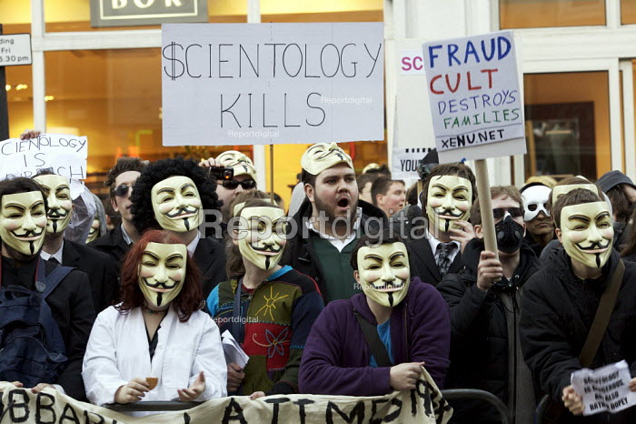 Masked protest against the church of scientology by a group called Anonymous, London. - Duncan Phillips - 2008-02-10