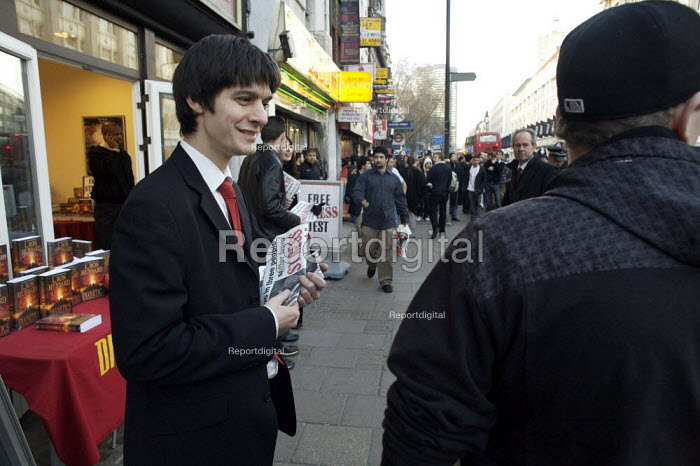 Members of the church of scientology outside their shop, Tottenham Court road, london - Duncan Phillips - 2008-02-10
