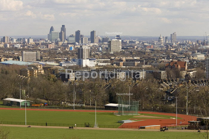 Cityscape showing a school playing field, the City of London and the Docklands - Duncan Phillips - 2006-04-05