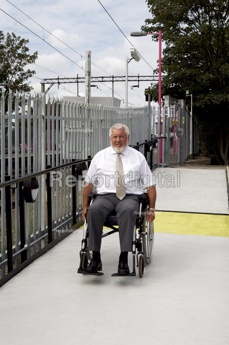 Wheelchair user gaining access to a railway station. - Duncan Phillips - 2007-09-06